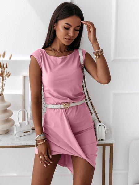 Asymetryczna sukienka na zakładkę - TWIST - pudrowy róż