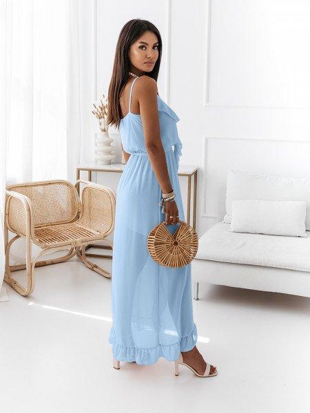 Sukienka maxi na ramiączkach - PALMIRA - błękitna