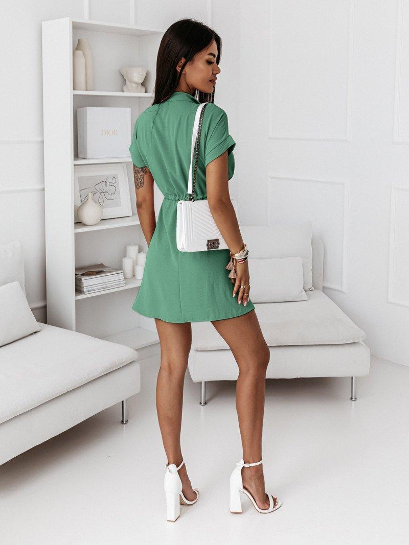 Sukienka ze ściągaczem i guzikami...