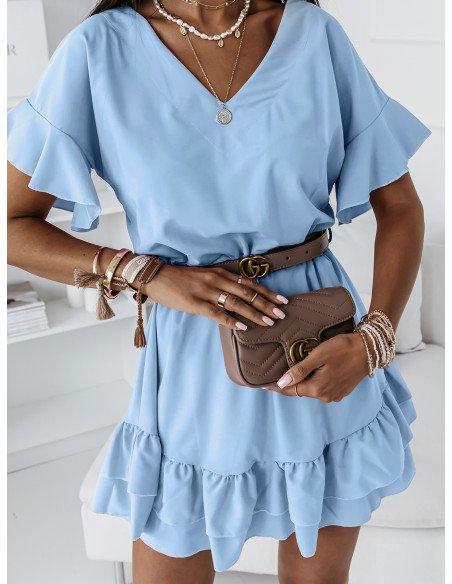 Rozkloszowana sukienka JULITTA - błękitna