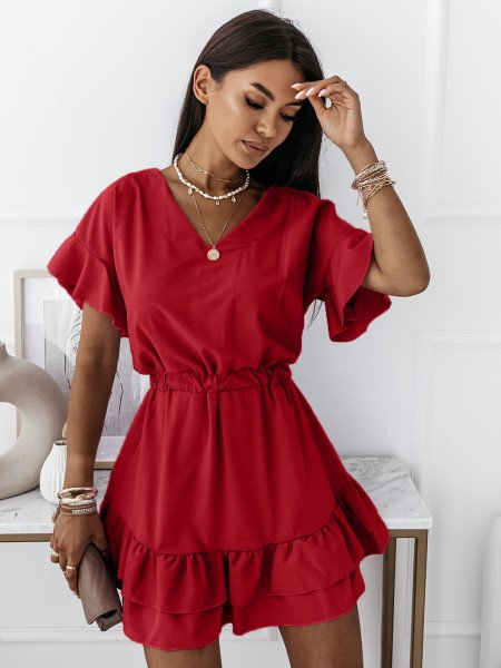 Rozkloszowana sukienka JULITTA - czerwona