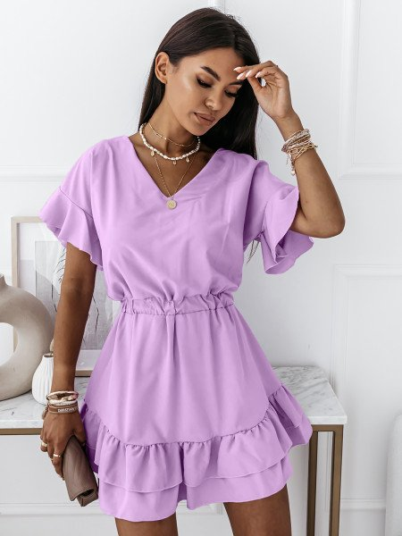 Rozkloszowana sukienka JULITTA - liliowa