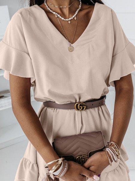 Rozkloszowana sukienka JULITTA - beżowa