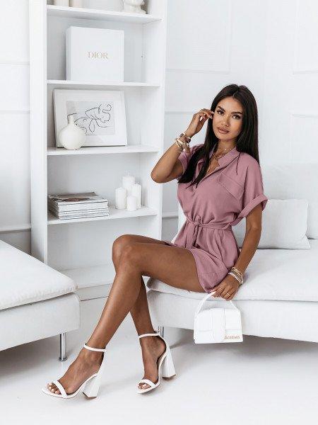 Koszulowa sukienka z paskiem - OLIS - brudny róż