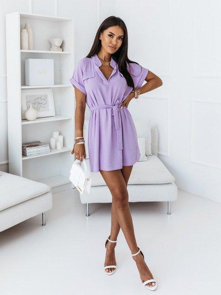 Koszulowa sukienka z paskiem - OLIS - liliowa