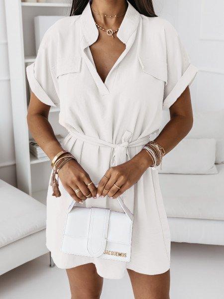 Koszulowa sukienka z paskiem - OLIS - biała