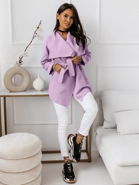 Flauszowy płaszcz wiązany - SPRING - liliowy