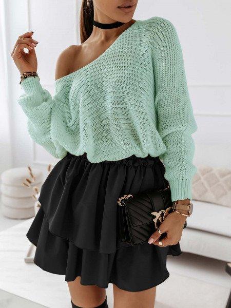 Ażurowy sweter na jedno ramię MISTIC - pastelowa mięta