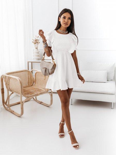 Sukienka gnieciona z falbaną - LIGIA - biała