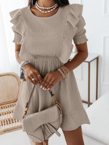 Sukienka gnieciona z falbaną - LIGIA - beżowa