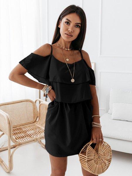 Sukienka hiszpanka z kieszeniami SUMMER VIBES - czarna