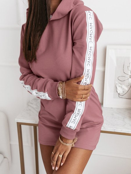 Sukienka tunika z kapturem i lampasami - SAVANA - brudny róż
