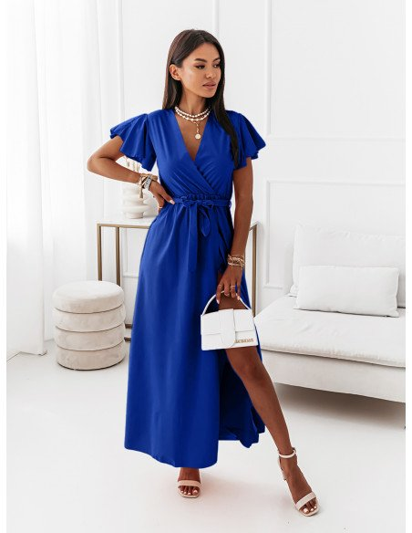 Elegancka sukienka maxi CAROLINE - chabrowa
