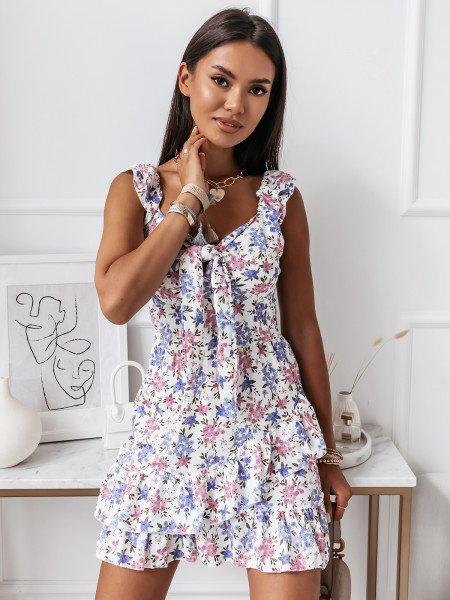 Dziewczęca sukienka w kwiaty - CORINNE - wzór 2
