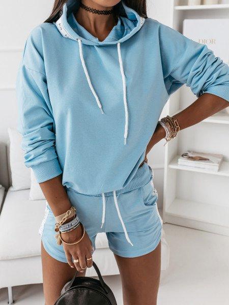 Komplet dresowy bluza + szorty - NELLY - błękitny