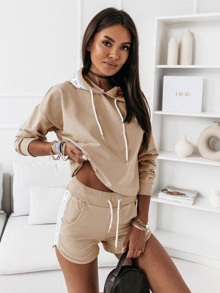 Komplet dresowy bluza + szorty - NELLY - beżowy