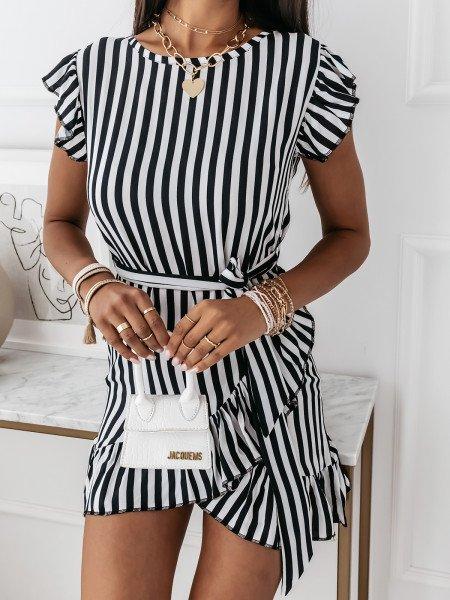 Sukienka mini w pionowe paski - MARINA - czarna