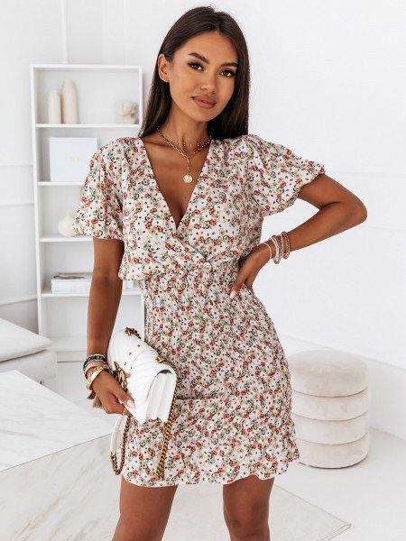 Sukienka w print z marszczeniem - MARTIKA - wzór 2