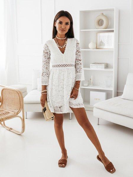 Ażurowa sukienka boho z dekoltem V - MANILA - biała