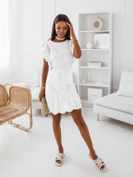 Sukienka z falbanami - GRACJA - biała