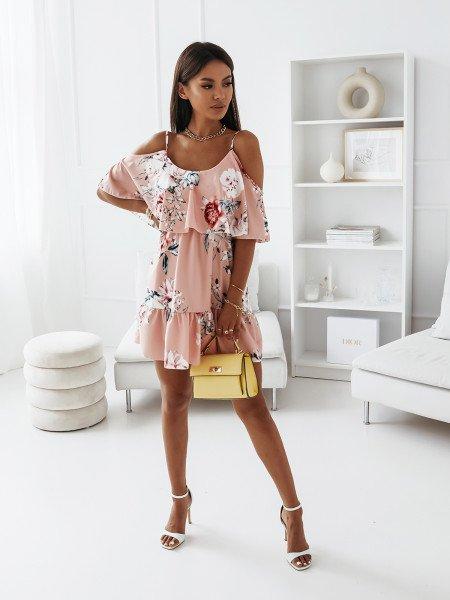 Sukienka hiszpanka na ramiączkach - SUSANA - pudrowy róż