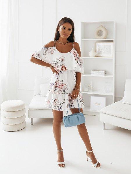 Sukienka hiszpanka na ramiączkach - SUSANA - biała