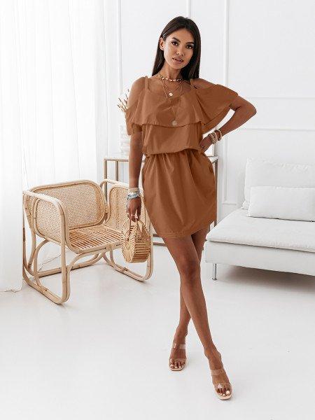 Sukienka hiszpanka z kieszeniami SUMMER VIBES - karmelowa