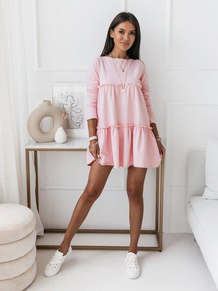 Trapezowa sukienka z falbanami - AMAZIS - pudrowy róż