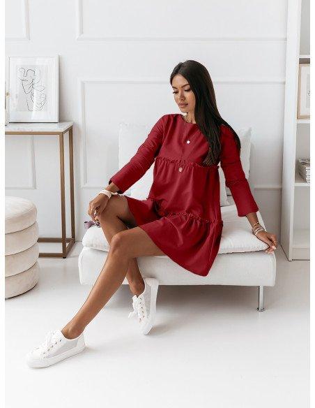 Trapezowa sukienka z falbanami - AMAZIS - bordowa