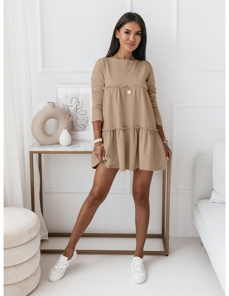 Trapezowa sukienka z falbanami - AMAZIS - beżowa