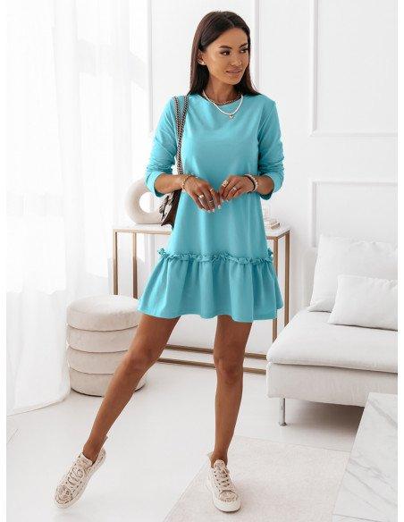 Trapezowa sukienka mini z falbaną TERES - błękitna