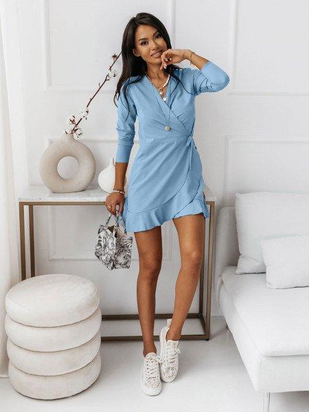 Przekładana sukienka z falbaną SARITTA - błękitna