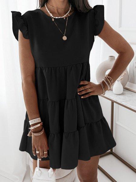Trapezowa sukienka z falbanami - KIMBERLY - czarna