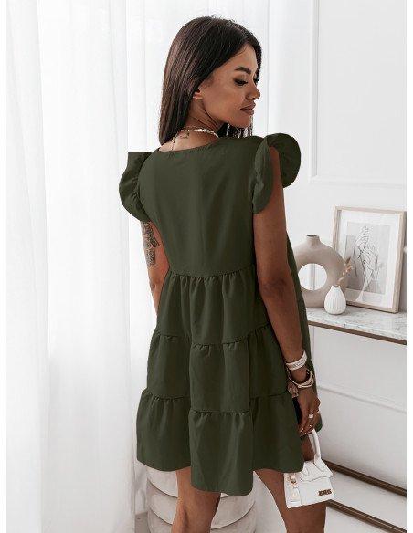 Trapezowa sukienka z falbanami - KIMBERLY - khaki