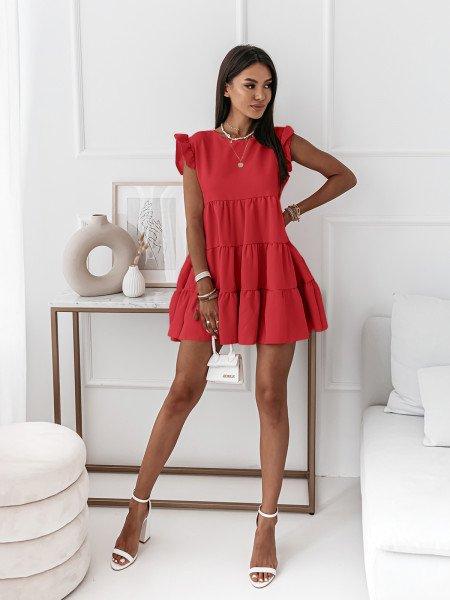 Trapezowa sukienka z falbanami - KIMBERLY - czerwona