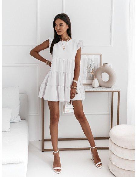 Trapezowa sukienka z falbanami - KIMBERLY - biała