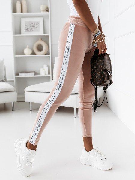 Welurowe legginsy z lampasem SALLY - pudrowy róż