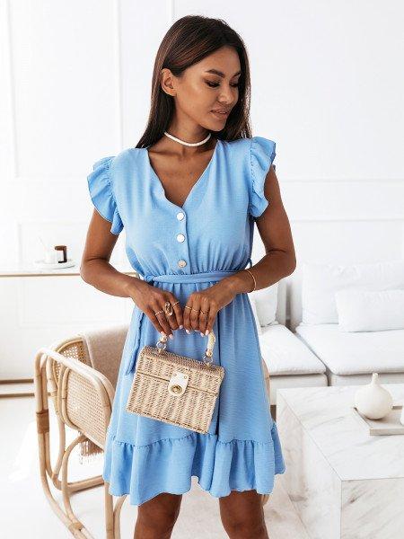 Sukienka z falbanami - SHANTEL - błękitna