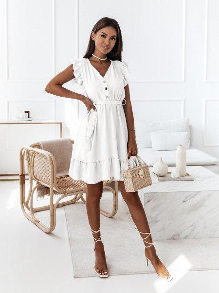 Sukienka z falbanami - SHANTEL - biała
