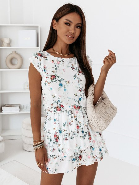 Sukienka mini z falbankami - ATTANI - wzór 1
