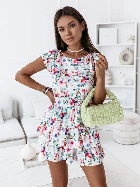 Sukienka mini z falbankami - ATTANI - wzór 8