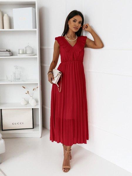 Plisowana sukienka z falbaną TETERIS - czerwona