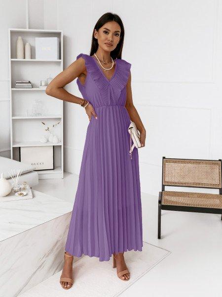 Plisowana sukienka z falbaną TETERIS -liliowa