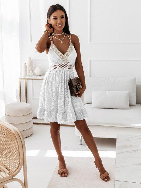 Koronkowa sukienka boho MANUELA - biała