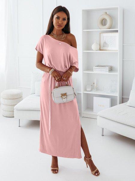 Maxi sukienka dresowa oversize GREECE - pudrowy róż