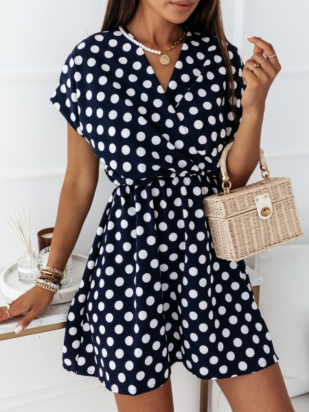 Sukienka mini w grochy TINNY - granat