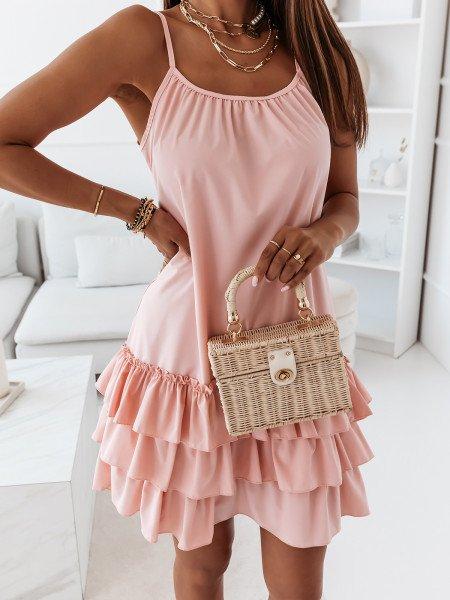 Trapezowa sukienka na ramiączkach - VIKI - pudrowy róż