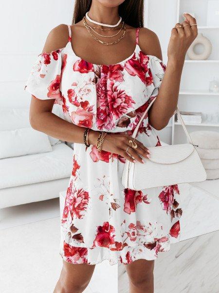 Szyfonowa sukienka na ramiączkach - PINK - biała