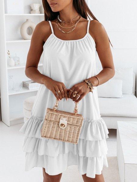 Trapezowa sukienka na ramiączkach - VIKI - biała