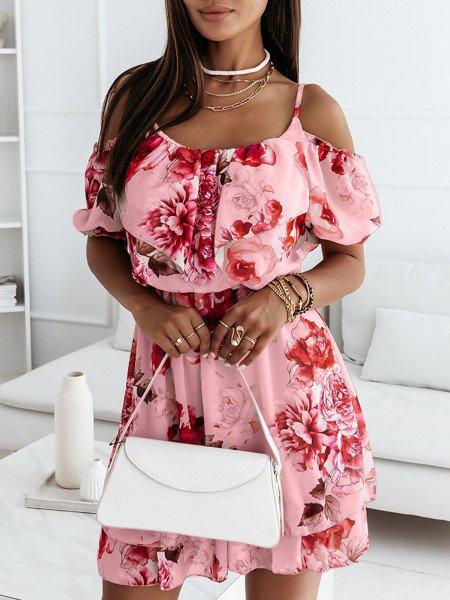 Szyfonowa sukienka na ramiączkach - PINK - pudrowy róż